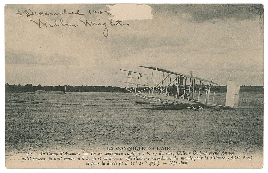 Wilbur Wright at Le Mans signed postcard