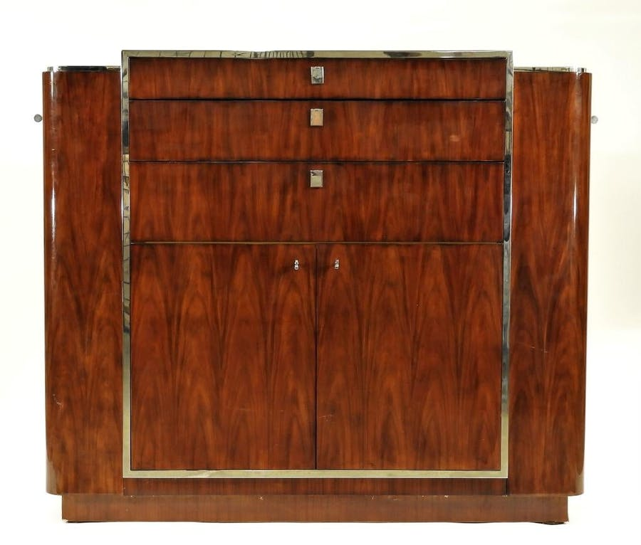 Ralph Lauren (U.S., 20th century) lacquer high style duke bar made from rosewood and stainless steel, 57 ½ inches wide (est. $2,500-$3,500).
