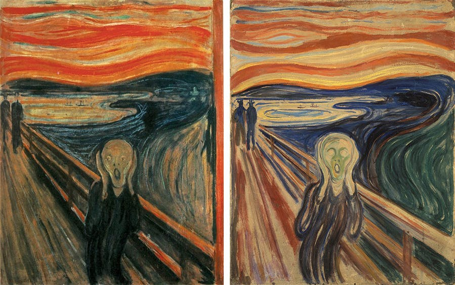Edvard Munch (1863-1944), The Scream Left: First Version of 1893, Norwegian National Gallery, Oslo || Right: Tempera version of 1910, Munch Museum, Oslo | Photos via Wikipedia