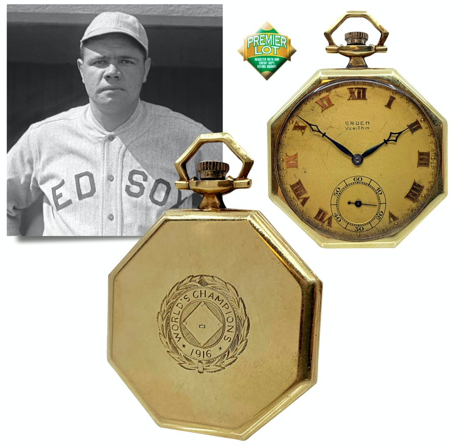 1916 Boston Red Sox Championship Pocket Watch Gifted From Babe Ruth To His Attorney