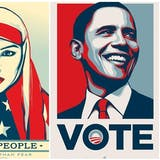 "Izquierda: OBEY (Shepard Fairey). ""Are Greater Than Fear"". Serie We the People (2017) Derecha: OBEY (Shepard Fairey). ""Obama Vote"". Edición limitada (2008)"