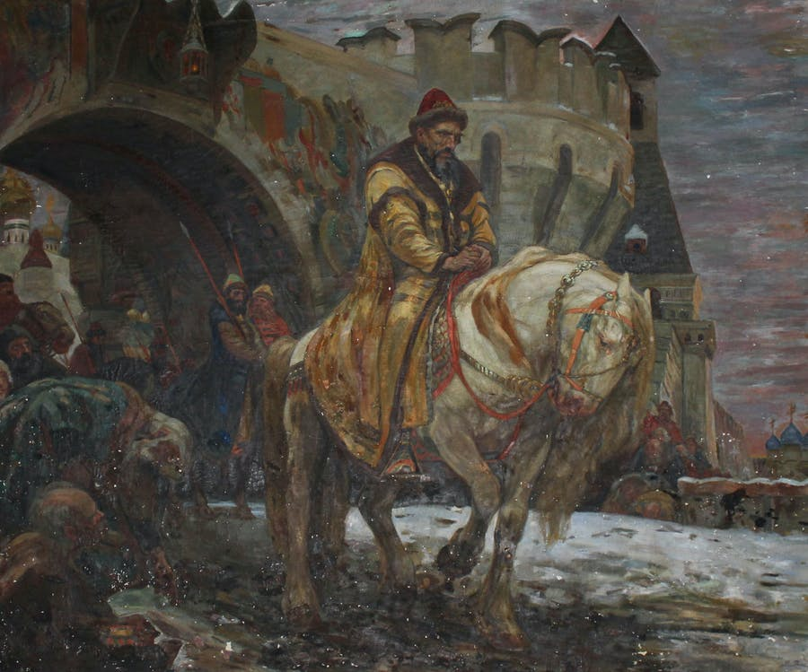 """Secret Departure of Ivan the Terrible Before the Oprichina"" was painted by Mikhail Panin (1877-1963) in 1911 when he was a student at the St. Petersburg Academy of Arts. Image:  US Attorney's Office"